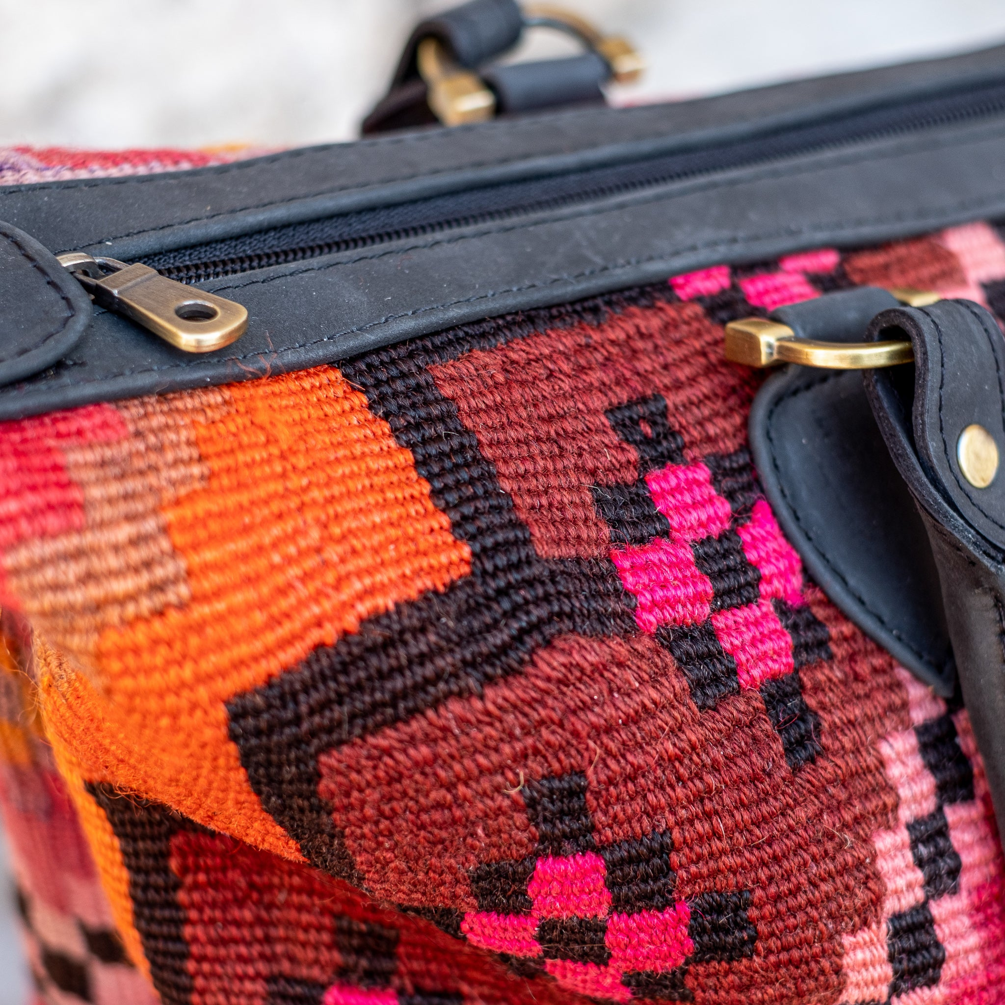 Kilim & Leather Day Bag #35