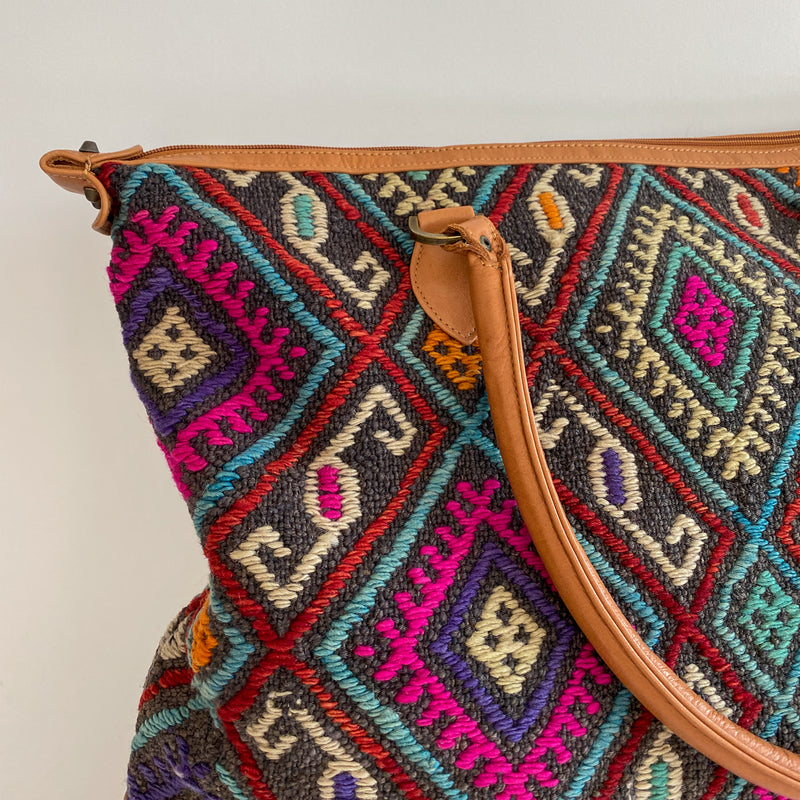 Kilim & Leather Day Bag #24