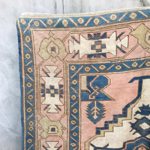 This tribal handwoven vintage Turkish rug is from the Kars region has absolutely stunning pinks and blues.  6x9'