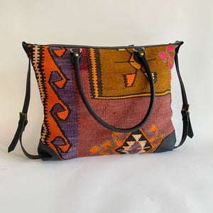 Kilim & Leather Day Bag #22