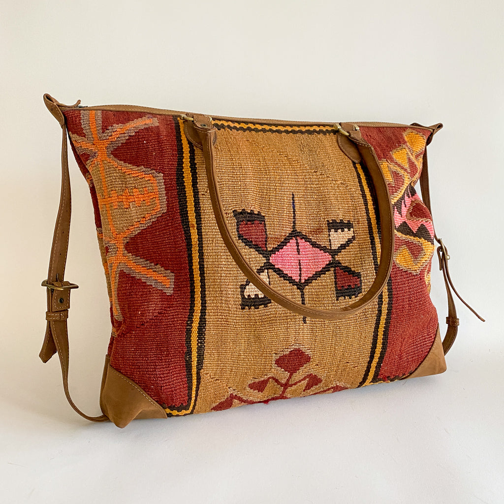 Kilim & Leather Day Bag #21