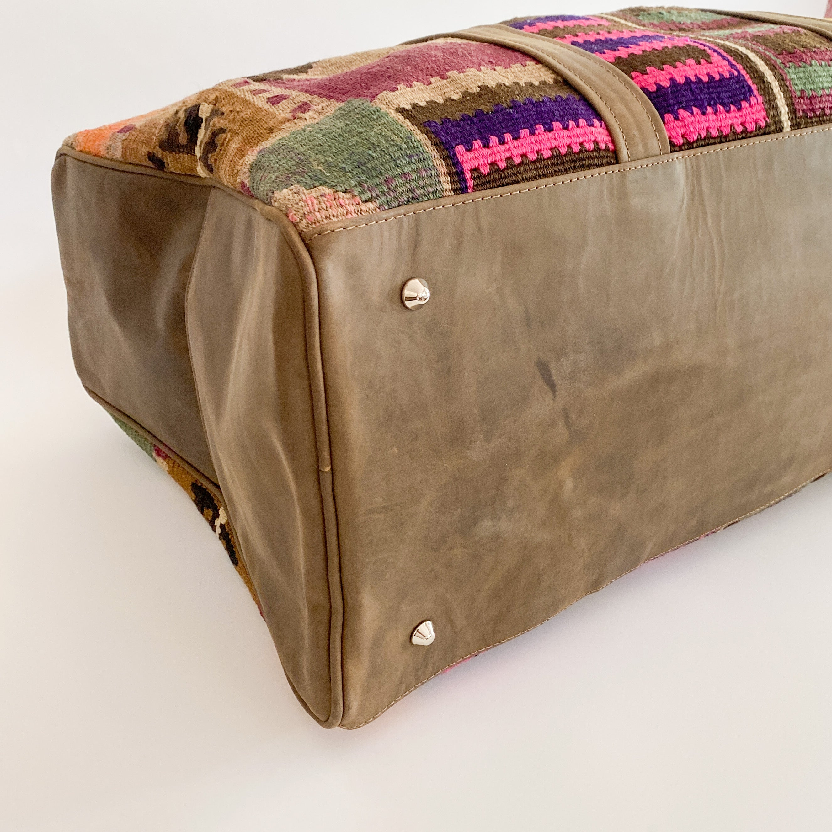Kilim & Leather Overnight Bag #36 (w/ side pockets)