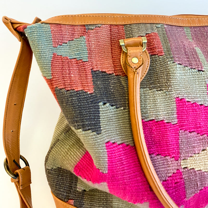Kilim & Leather Day Bag #16
