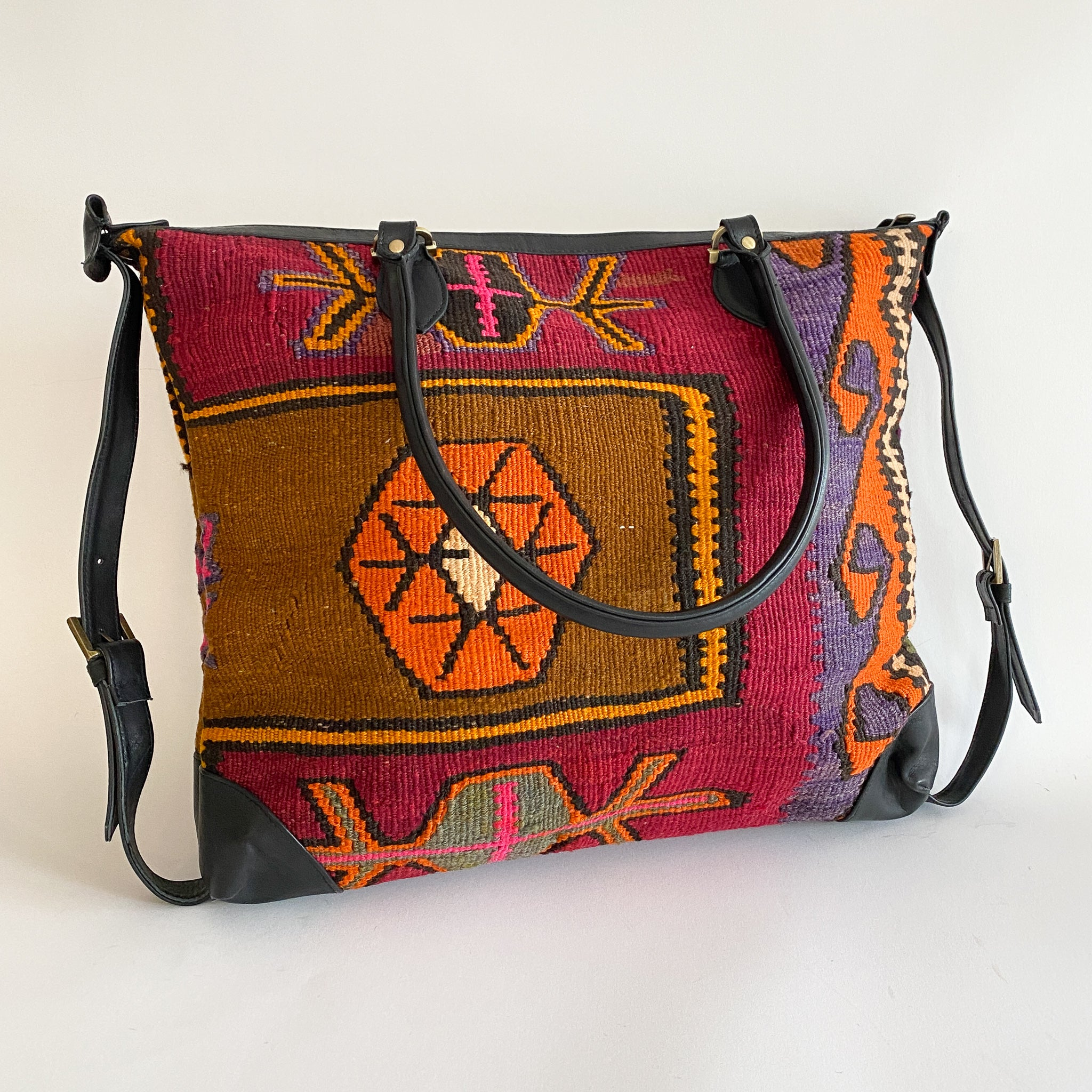 Kilim & Leather Day Bag #18