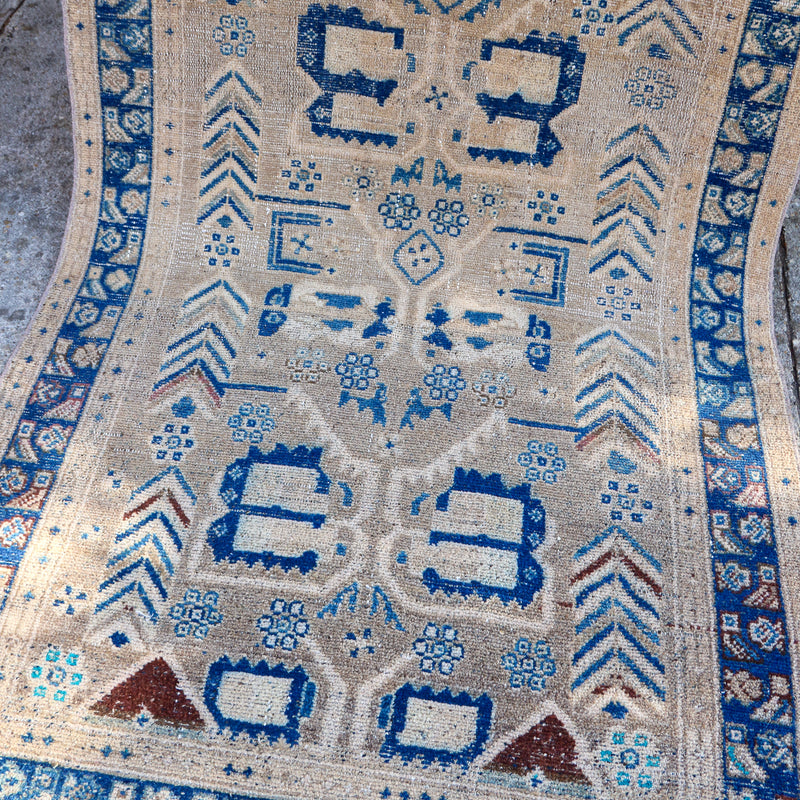 ON HOLD K64 Nurten 3'7x9'3 Handwoven Vintage Rug