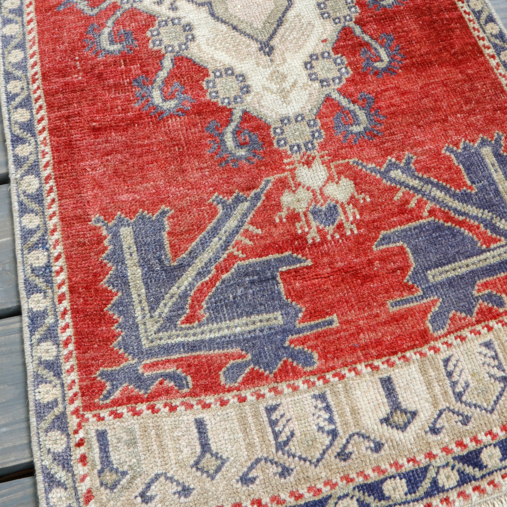 ON HOLD NOT AVAILABLE 1447 Small Handwoven Vintage Rug 1'11x4'3
