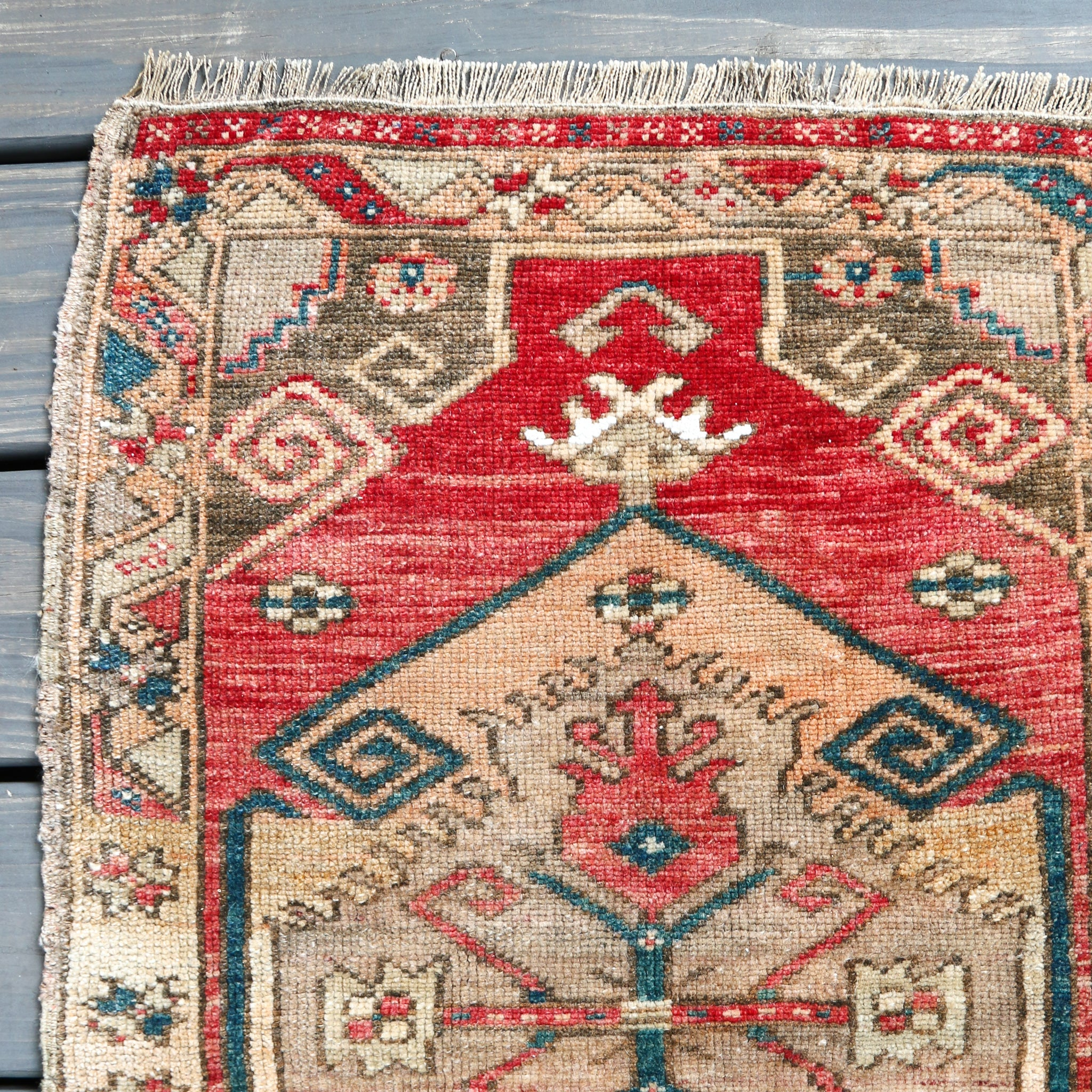 ON HOLD NOT AVAILABLE 1465 Small Handwoven Vintage Rug 1'11x2'8