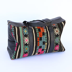 Kilim & Leather Overnight Bag #24 (w/ side pockets)