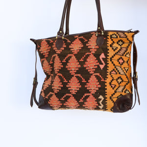 Kilim & Leather Day Bag #2