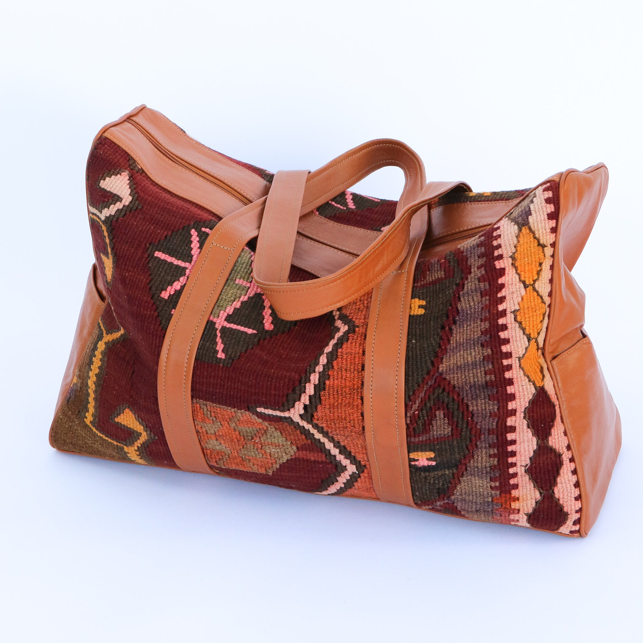 Kilim & Leather Overnight Bag #25 (w/ side pockets)