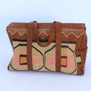 Kilim & Leather Overnight Bag #28 (w/ side pockets)