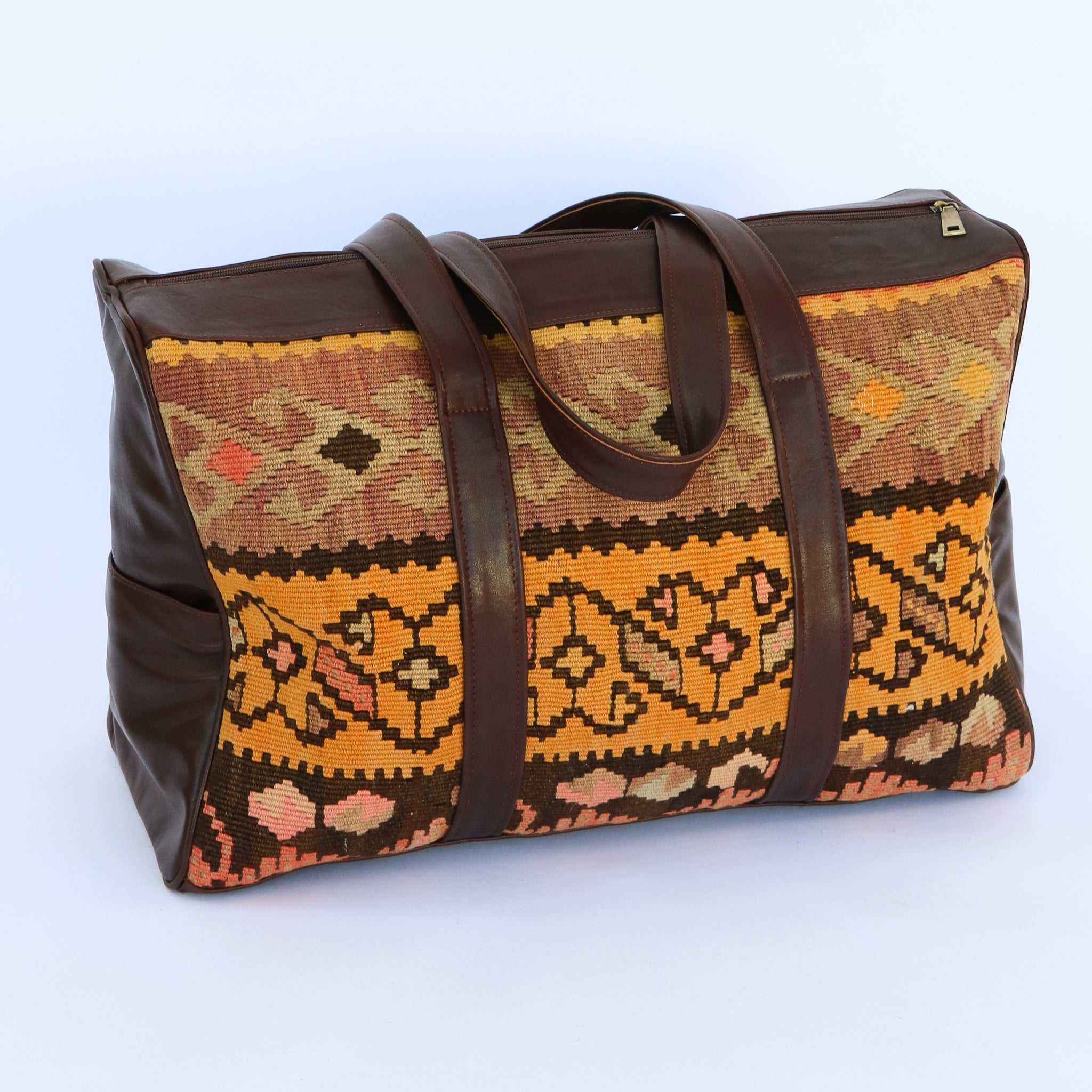 Kilim & Leather Overnight Bag #29 (w/ side pockets)