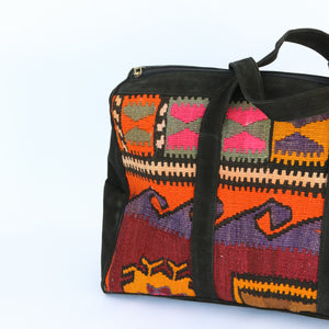 Kilim & Leather Overnight Bag #30 (w/ side pockets)