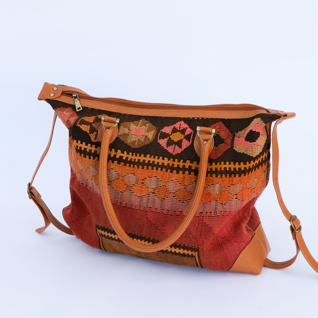 Kilim & Leather Day Bag #6