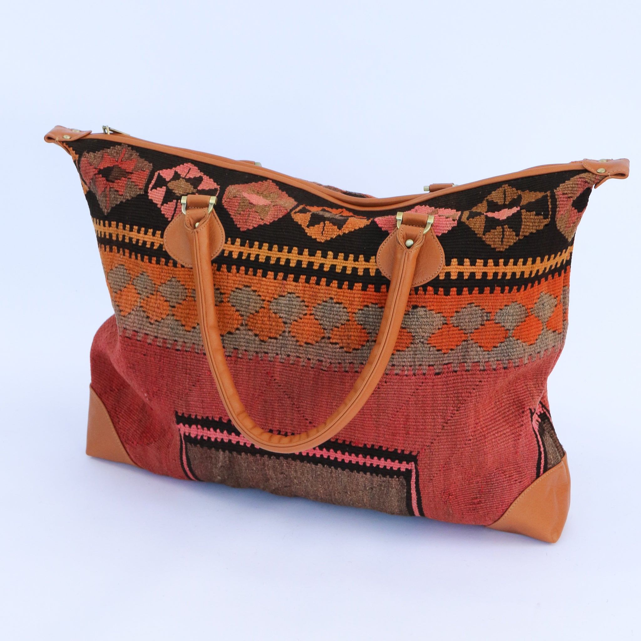 Kilim & Leather Day Bag #15