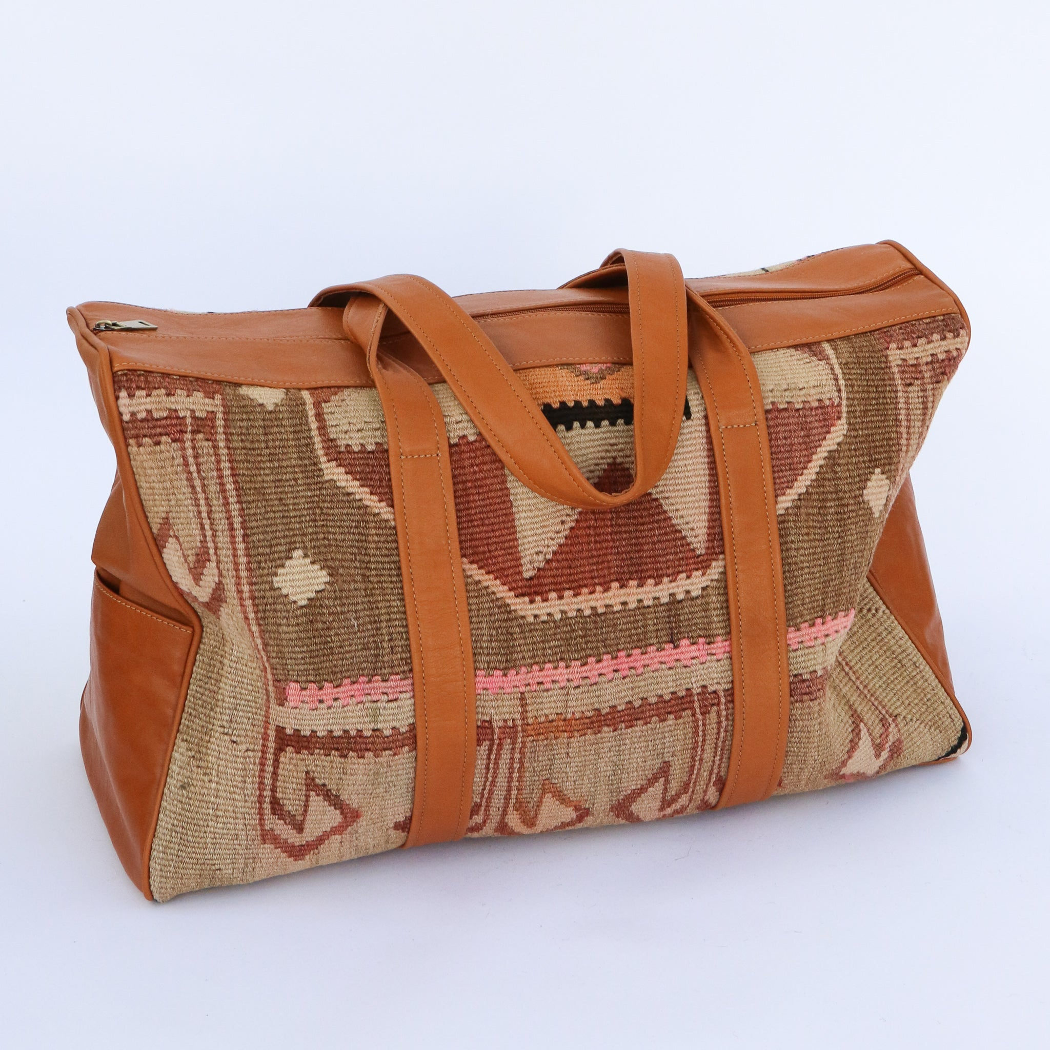 Kilim & Leather Overnight Bag #32 (w/ side pockets)