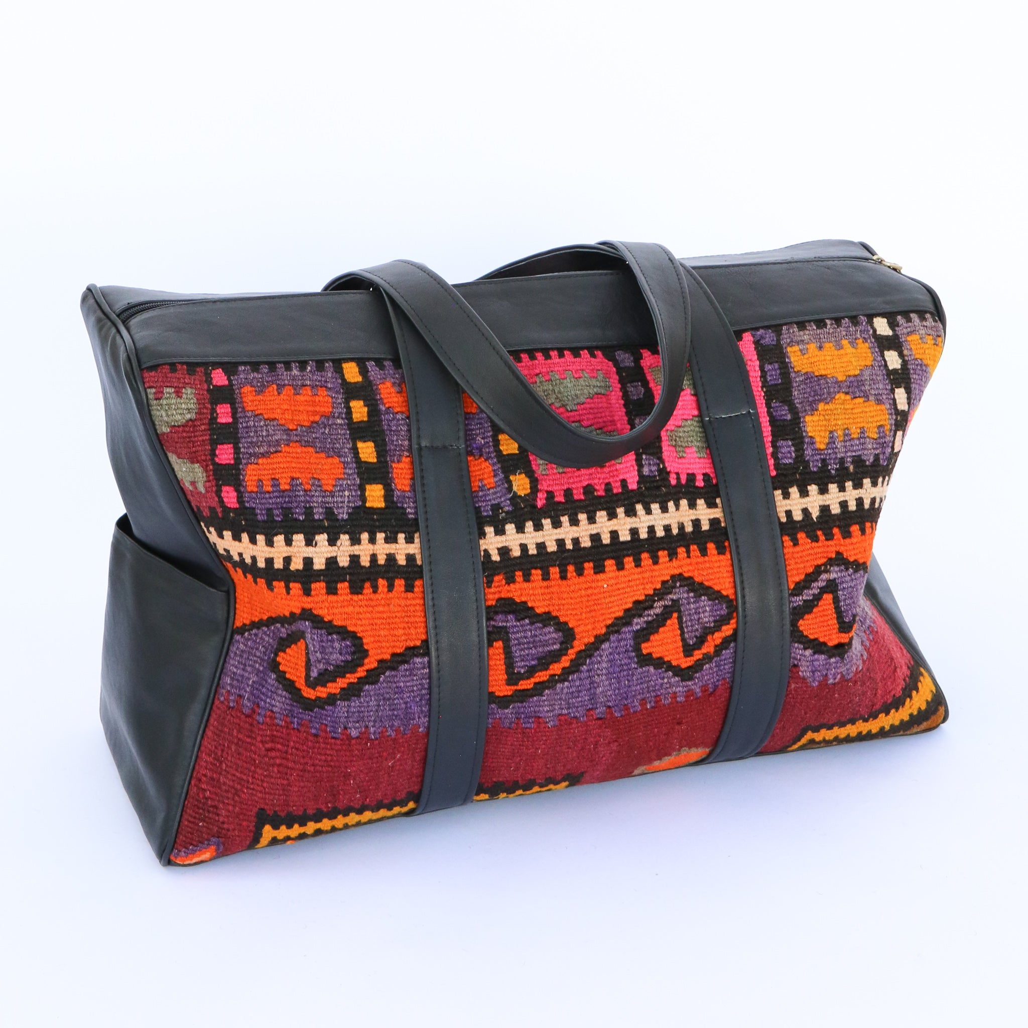 Kilim & Leather Overnight Bag #33 (w/ side pockets)