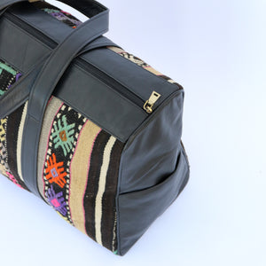 Kilim & Leather Overnight Bag #34 (w/ side pockets)