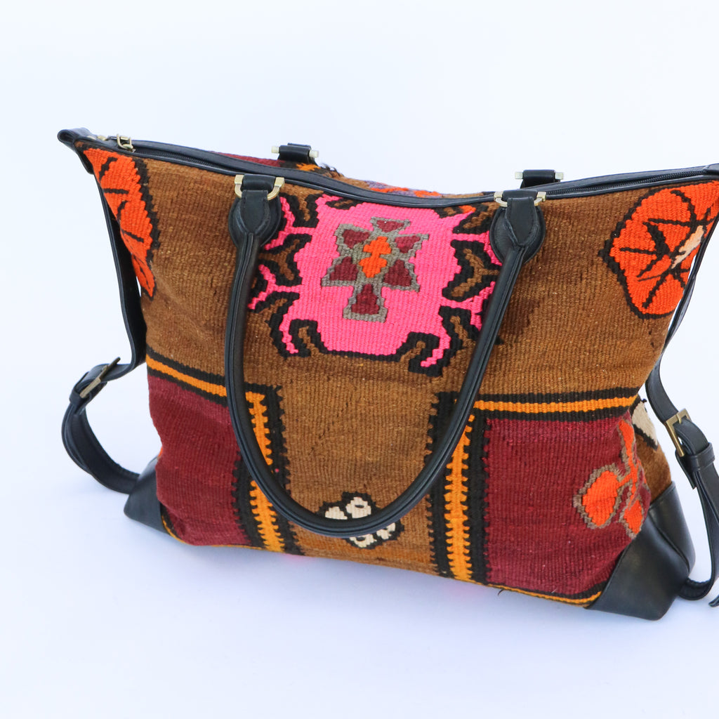 Kilim & Leather Day Bag #11