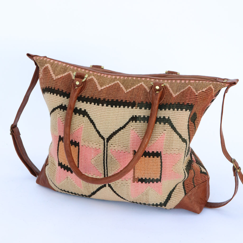 Kilim & Leather Day Bag #12