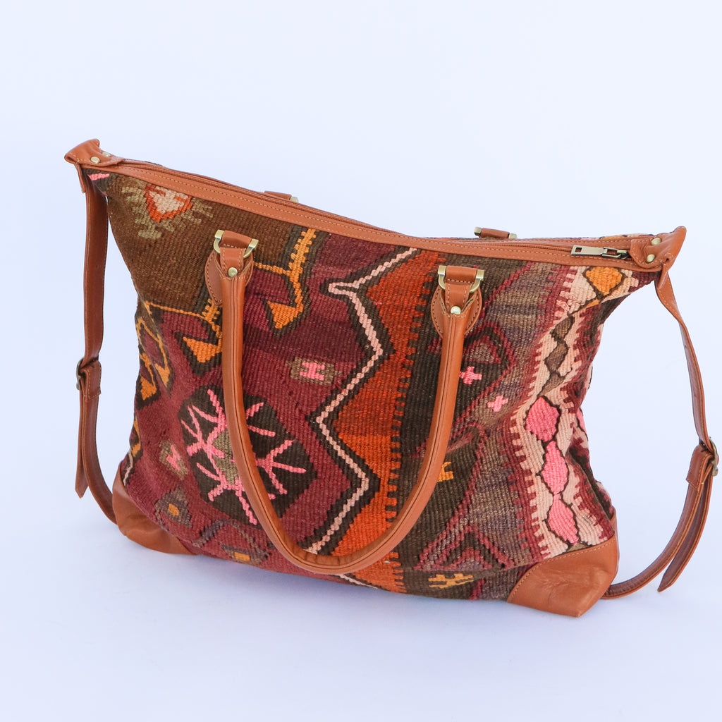 Kilim & Leather Day Bag #13