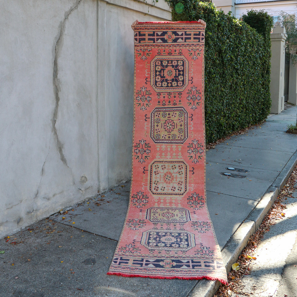 2280 Lale 2'10x11'8 Handwoven Vintage Rug