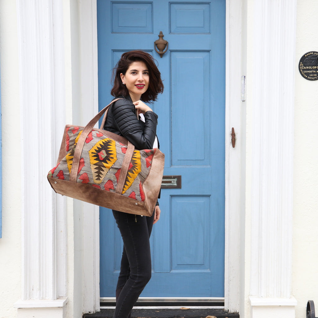 Kilim & Leather Overnight Bag #05