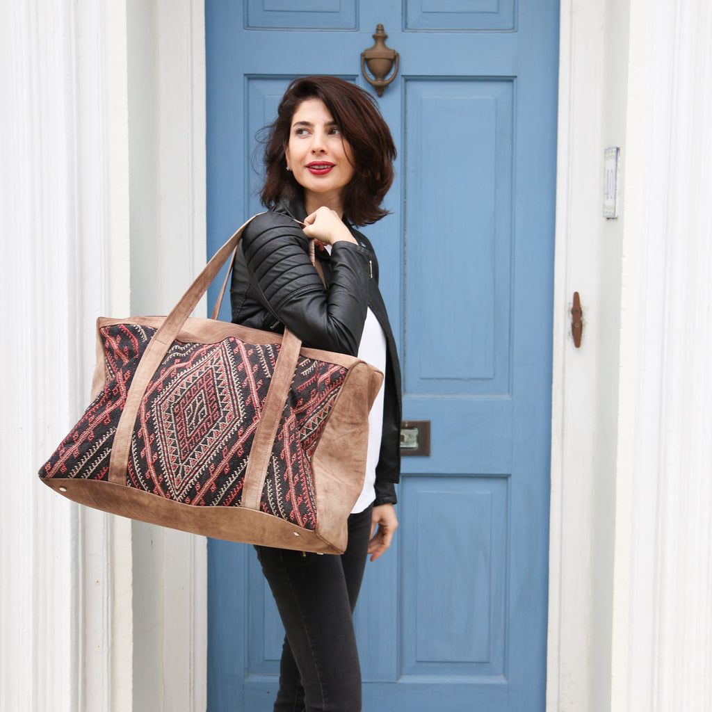 Kilim & Leather Overnight Bag #06