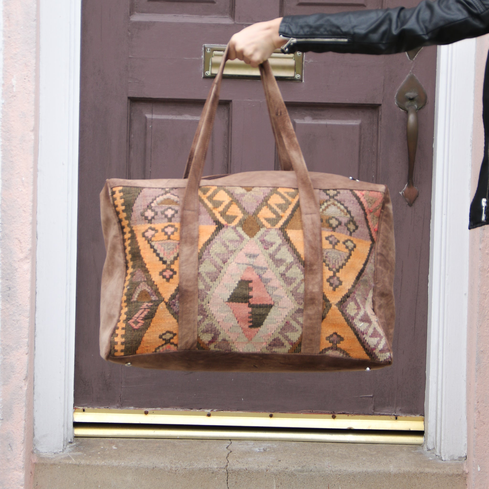 Kilim & Leather Overnight Bag #08