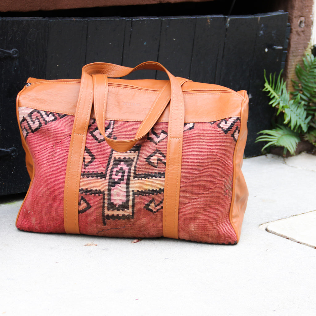 Kilim & Leather Overnight Bag #09