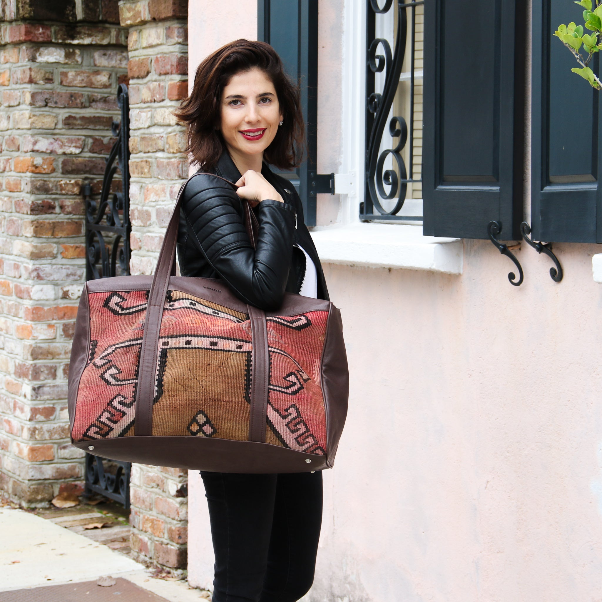 Kilim & Leather Overnight Bag #10