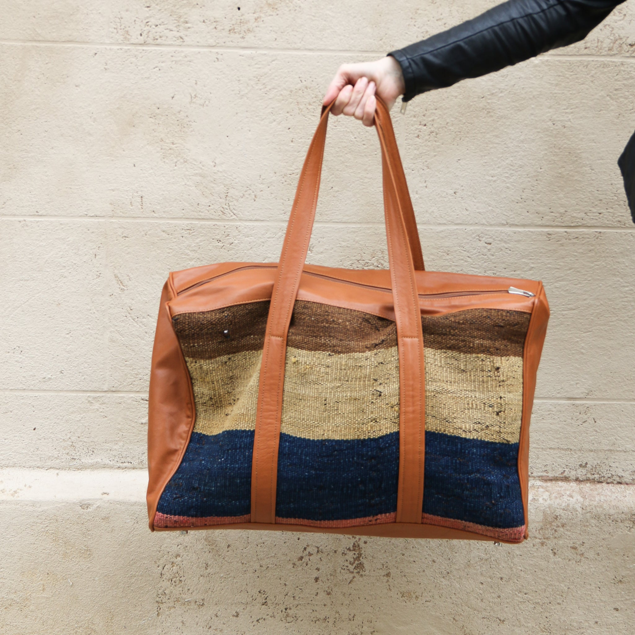 Kilim & Leather Overnight Bag #11