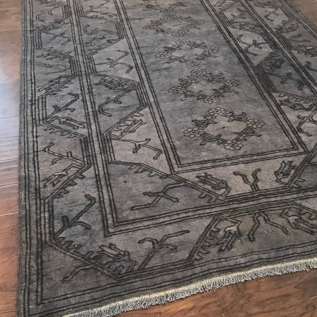 This beautiful Milas vintage Turkish rug is a dark warm gray and very versatile. 64x92.