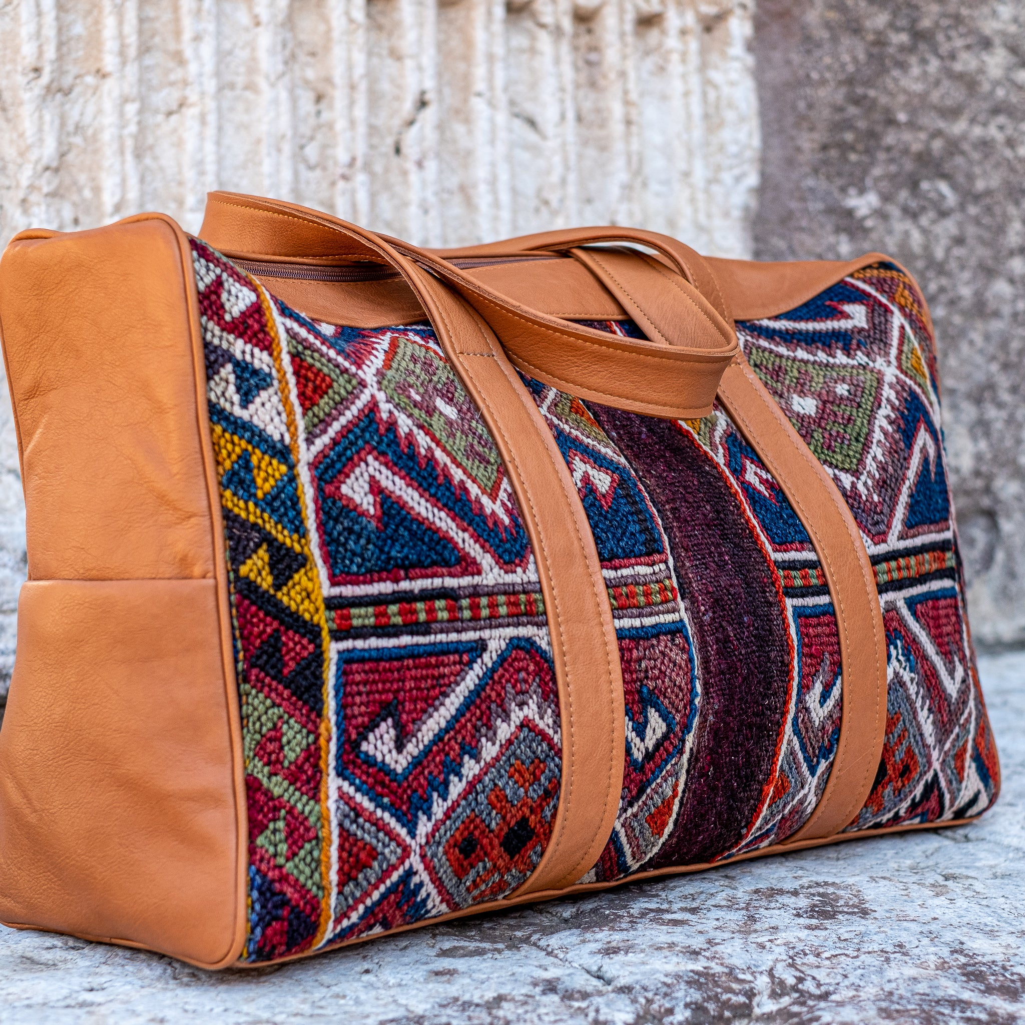 Kilim & Leather Overnight Bag #42 (w/ side pockets)