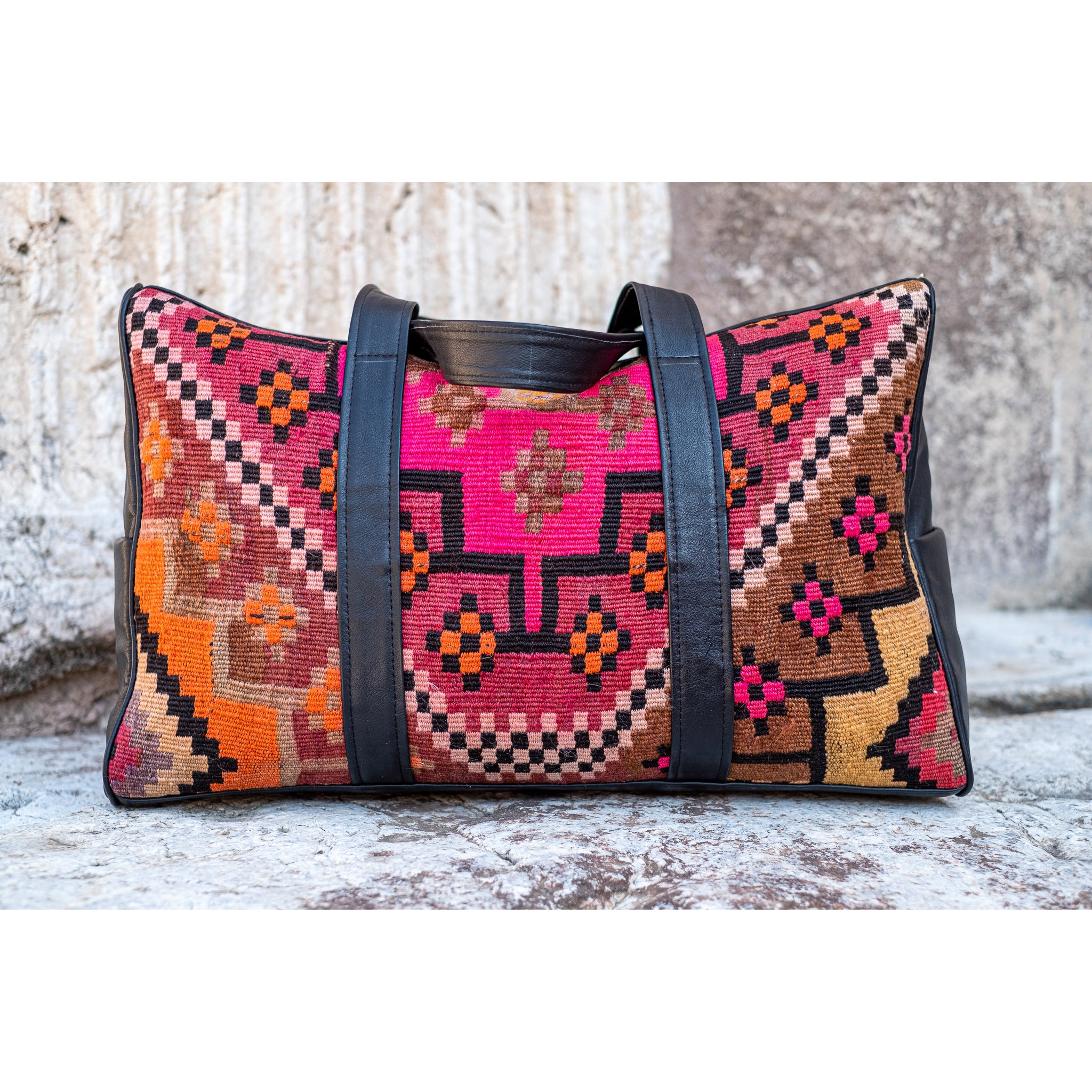 Kilim & Leather Overnight Bag #43 (w/ side pockets)