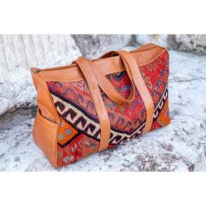Kilim & Leather Overnight Bag #45 (w/ side pockets)