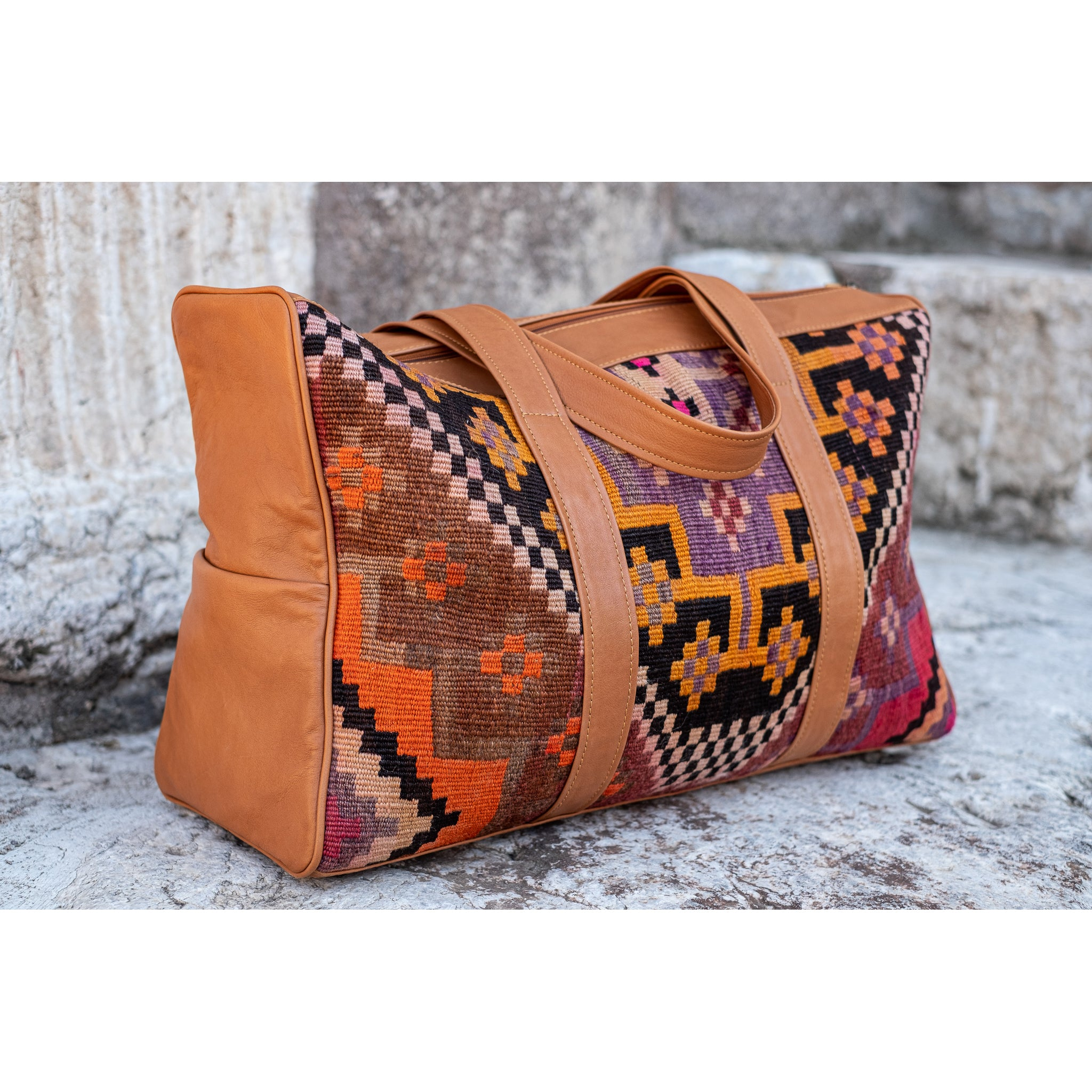 Kilim & Leather Overnight Bag #47 (w/ side pockets)
