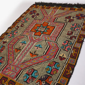 This Cicim Vintage Turkish rug has amazing colors and pattern.  Cicim rugs have embroidery  used in their technique. Great colors, design and history. 31 x 46 inches.