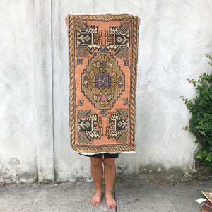 small vintage turkish rug yastik