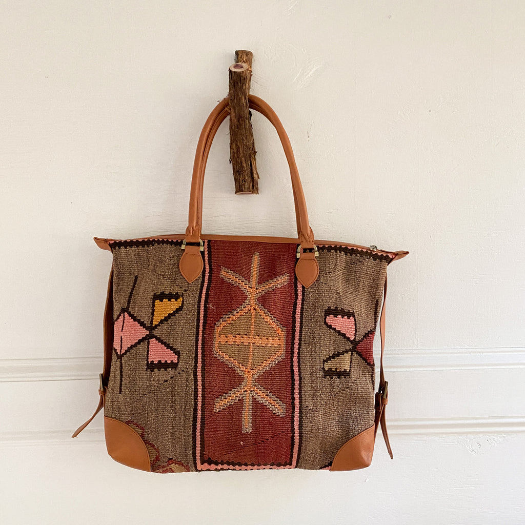 ON HOLD KRF Kilim & Leather Day Bag #30