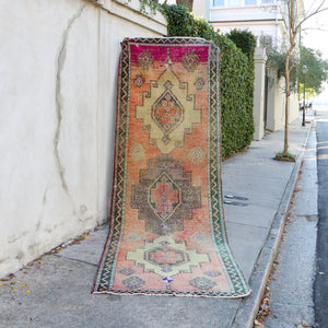 ON HOLD K87 Nilay 3'8x11'4 Handwoven Vintage Rug