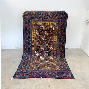 142 Handwoven Antique Rug 4'11x9