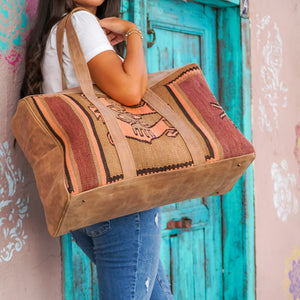 Kilim & Leather Overnight Bag #49 (w/ side pockets)