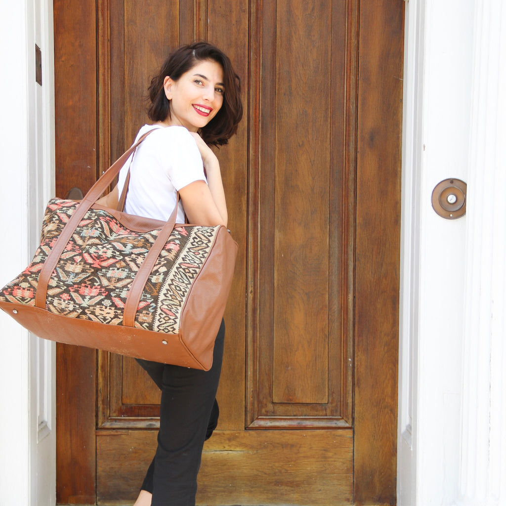 Custom handmade kilim and leather overnight bag