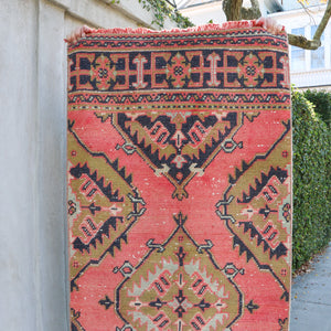 ON HOLD 2284 Dinoca 2'11x11'7 Handwoven Vintage Rug