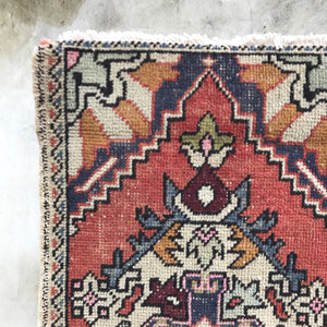 This vintage Yastik has beautiful colors and a fun design.  Great for entryways, bathrooms, kitchens and layering. 1'6x3