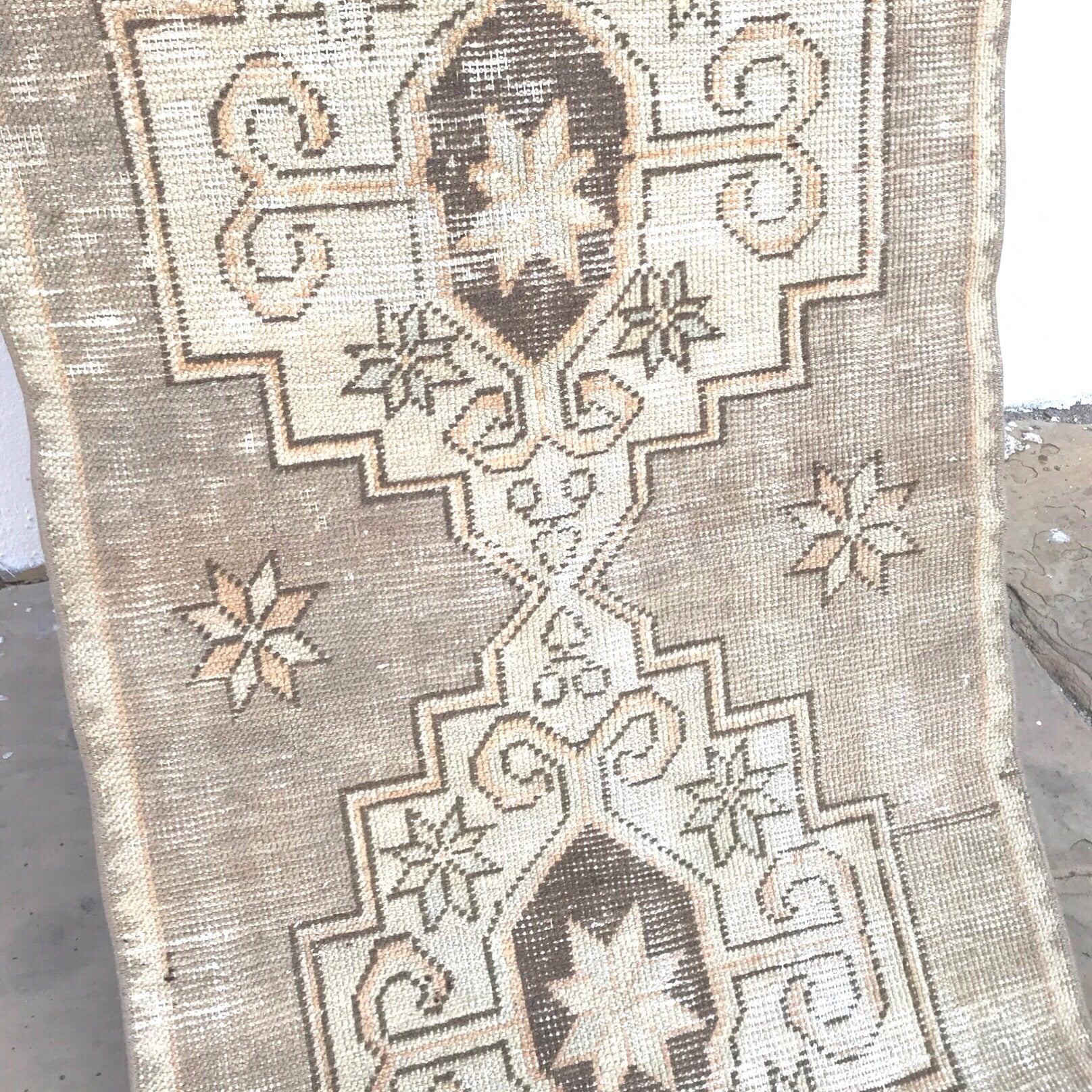 This vintage Turkish runner has fantastic muted colors. Blue and peach accents.  2'5x9'8