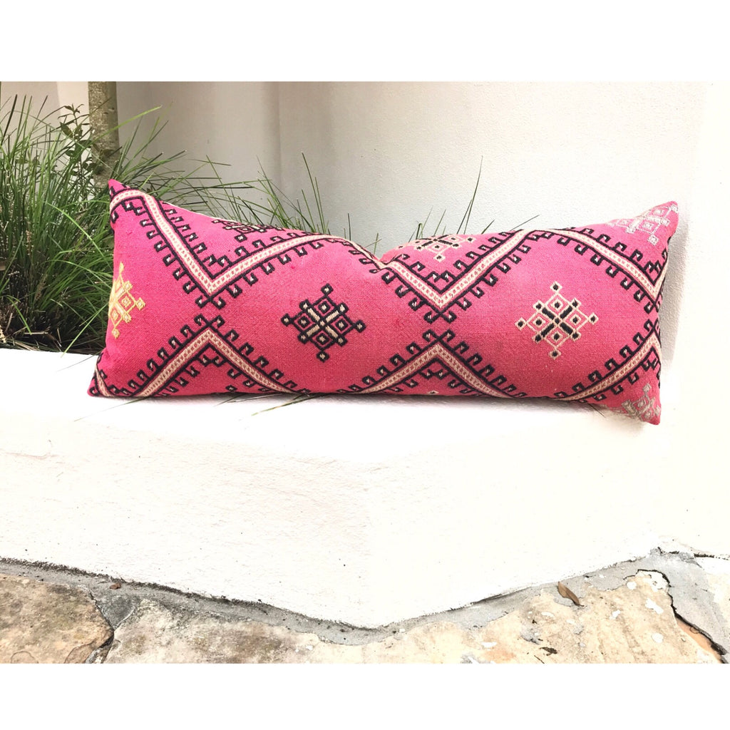 14x36 Kilim pillowcase made from recycled handwoven vintage Turkish kilims.  This lumbar size is looks great on a couch or a bed.  Zipper closure. Insert not included. Natural dyes. Wool. One of a kind.