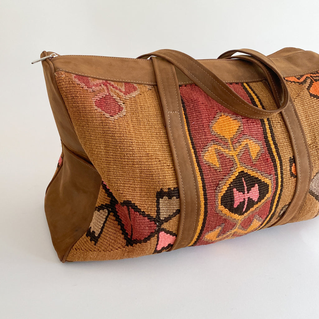 Kilim & Leather Overnight Bag #35 (w/ side pockets)