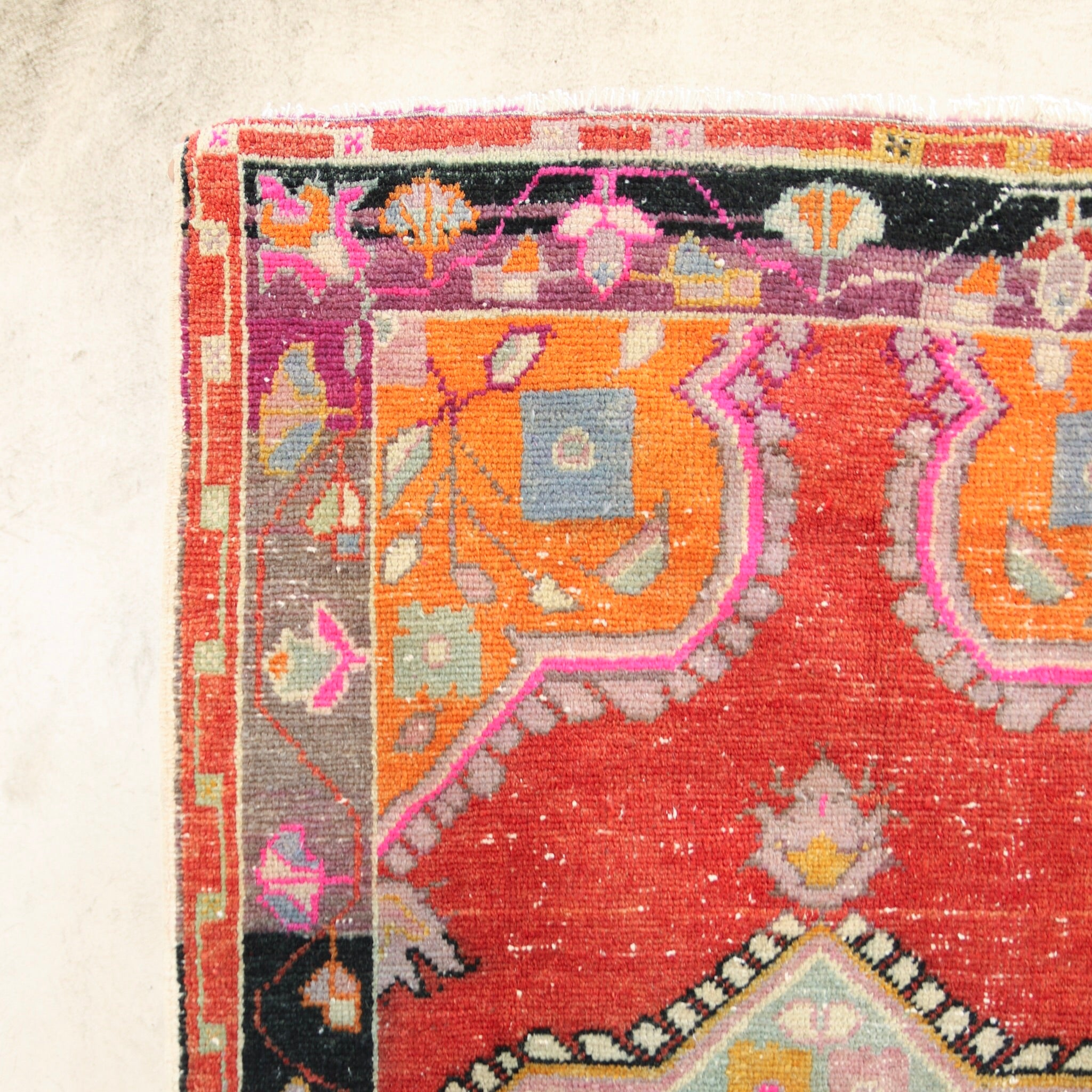 This handwoven vintage Turkish rug is has vibrant colors and is a great size. Denizli.